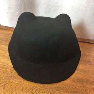 Black wool Cat Ear Hat